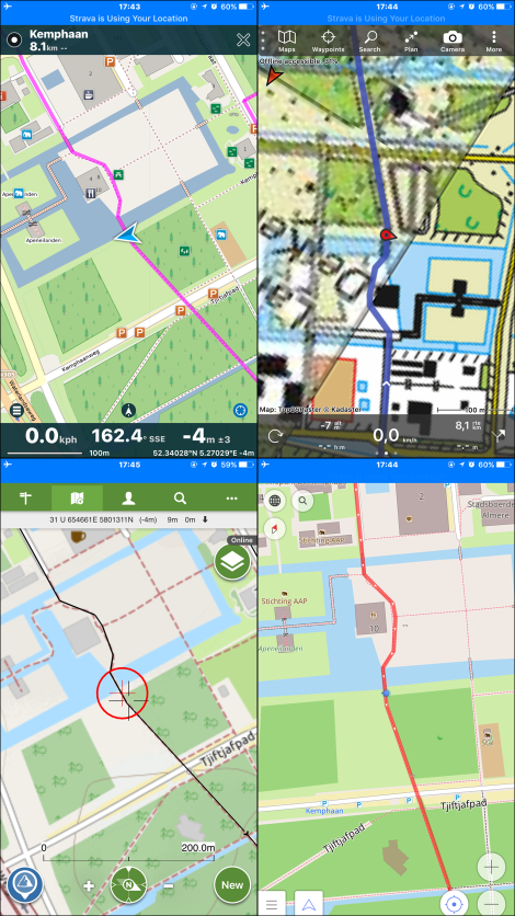 Screenprints GPS-apps op iPhone 6 Plus. Pocket Earth Pro (linksboven), Topo GPS (rechtsboven), ViewRanger (linksonder), OsmAnd (rechtsonder)