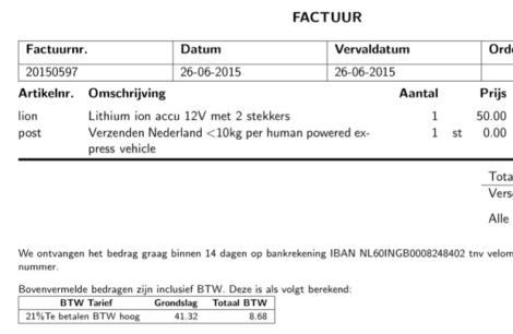 """Verzenden Nederland <10kg per human powered express vehicle"""