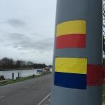 Bij Vijfhuizen wordt de markering geel-blauw