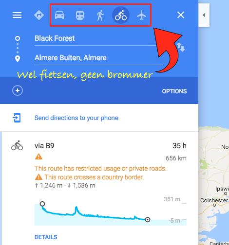 Vervoersopties in Google Maps