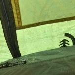 Bevroren condens in de tent
